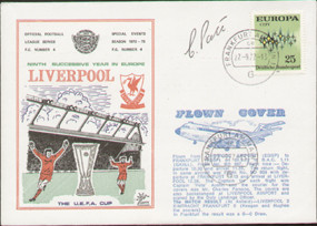 An original first day cover to celebrate Liverpools 9th successive season in Europe, issued in September 1972. Complete with original filler card . This is a flown cover (full details printed to front) and has been signed by the Duty Landings Officer.