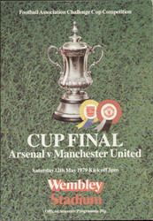 original Official 1979 FA Cup Final programme. The game, Arsenal V Manchester United was played on 12th May 1979 at Wembley Stadium. Arsenal won a thriller 3-2 with a late goal from Alan Sunderland.
