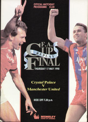 original Official 1990 FA Cup Final Replay programme. The game, Crystal Palace V Manchester United was played on 17th May 1990 at Wembley Stadium.