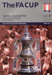 original Official 2003 FA Cup Final programme. The game, Arsenal V southampton was played on 17th May 2003 at the Millennium Stadium, Cardiff.