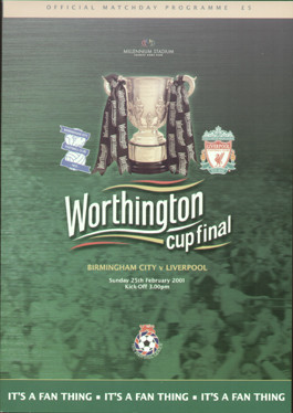 original Official 2001 League Cup Final programme. The game, Birmingham City V Liverpool was played on 25th February 2001 at the Millennium Stadium, Cardiff.