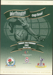 original Official 2002 League Cup Final programme. The game, Blackburn Rovers V Tottenham Hotspur was played on 24th February 2002 at the Millennium Stadium, Cardiff.