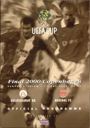 original Official 2000 UEFA Cup Final programme. The game, Arsenal V Galatasaray SK was played on 17th May 2000.