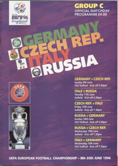 original Official EURO 96 group C programme. Joint issue for Germany, Czech Republic, Italy & Russia