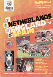 original Official EURO 96 quarter final programme. Joint issue for France V Netherlands & England V Spain.