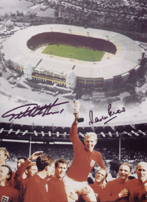 Stunning 1966 Wembley montage, including an ariel view of the old Wembley and an iconic picture of the England team celebrating their victory at Wembley on 30th July 1966.