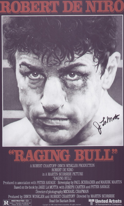 Superb A4 size signed poster of the film Raging Bull depicting the life story of middleweight Jake La Motta.