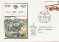 original first day cover to celebrate the 1974 FA Cup Final Newcastle United V Liverpool, issued in May 1974. Complete with original filler card. Rare Dawn cover.