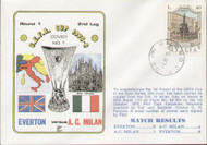 original flown first day cover to celebrate Everton V AC Milan in Europe 1975, issued in October 1975.