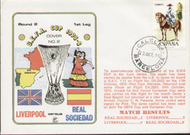 original flown first day cover to celebrate Liverpool in Europe 1975, issued in October 1975.