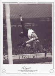 Chelsea goalkeeper Peter Bonetti dives full length to try and stop a Manchester United effort, Stamford Bridge 1960.