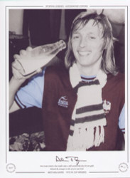 West Ham United's Alan Taylor takes a well earned drink after his two goals defeated Fulham in the 1975 FA Cup Final.