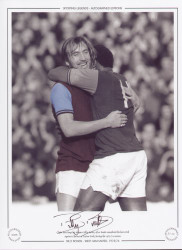 Clyde Best hugs his skipper Billy Bonds, after Bonds completed his hatrick against Chelsea at Upton Park, during the 1973/74 season.