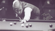 Superb signed photograph showing Snooker legend Terry Griffiths. Signed in silver sharpie marker. This superb photograph was signed by Terry at a private signing session held at Collectormania November 2010.
