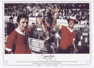 Liverpool duo Jimmy Case and Ray Kennedy hold aloft the European Cup after victory over Borussia Monchengladbach, in the 1977 Final at the Stadio Olimpico, Rome. The merseysiders ran out 3-1 winners with goals from McDermott, Smith & Neal.