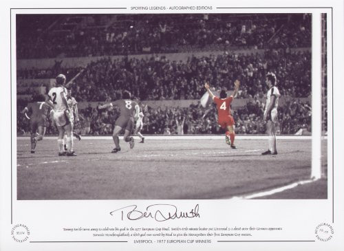 Tommy Smith turns away to celebrate his goal in the 1977 European Cup Final. Smith's 67th minutes header put Liverpool 2-1 ahead over their German opponents Borussia Monchengladbach, a third goal was scored by Neal to give the Merseysiders their first European success.