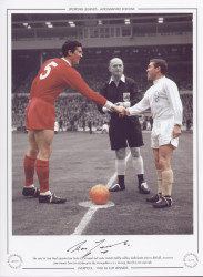 The 1965 FA Cup Final captains, Ron Yeats of Liverpool and Leeds United's Bobby Collins, shake hands prior to the kick-off. An extra time goal from Ian St John, gave Liverpool a 2-1 victory and their first FA Cup title.