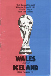 original Official programme for the world Cup Qualifying match Wales V Iceland played on 14 October 1981 at The Vetch, Swansea.