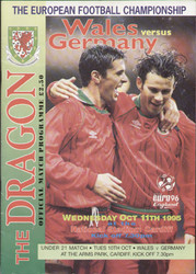 original Official programme for the European Qualifying match Wales V Germany played on 11 October 1995 in Cardiff.