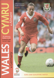 original Official programme for the Euro qualifying match Wales V Germany played on 8 September 2007 in Cardiff.