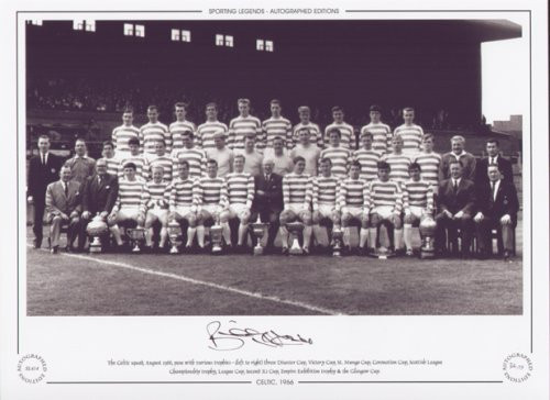 The Celtic squad, August 1966, pose with various trophies.