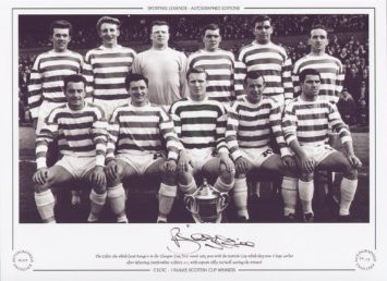 The Celtic side which faced Rangers in the Glasgow Cup first round, pose with the Scottish Cup, which they won 6 days earlier after defeating Dunfermline Athletic 3-2, with captain Billy McNeill scoring the winner.