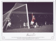 Denis Law celebrates his goal for Manchester United against arch rivals Manchester City in the League Cup Semi Final 2nd leg at Old Trafford in 1969.
