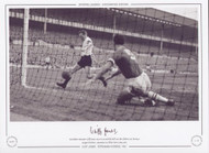 Tottenham Hotspur's Cliff Jones races in to prod the ball into the Chelsea net, during a League Division 1 encounter at White Hart Lane, 1961.