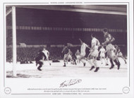 Bobby Smith (centre) about to score his teams first goal during their European Cup Quarter Final against Czech champions Dukla Prague. Spurs secured their place in the semi finals with a 4-1 victory in the snow at White Hart Lane, 1962.