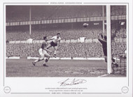 Tottenham Hotspur's Bobby Smith, heads his team seventh goal against Everton during a League division 1 game at White Hart Lane in 1958.