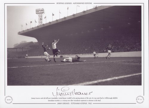 Jimmy Greaves nods the ball past Manchester United keeper Gaskell in the opening minutes of the 1962 FA Cup Semi Final at Hillsborough. Tottenham eventually ran out 3-1 winners.