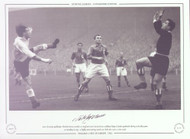Nat Lofthouse England V Rest of Europe 1953. Rest of Europe keeper Vladimir Beara, watches as England centre forward Nat Lofthouse loops a header goalwards during a friendly game at Wembley in 1953. A highly entertaining match saw both sides score 4 times each.