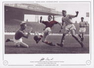 Manchester United 1958 Manchester United legend Albert Scanlon takes on Manchester City keeper Bert Trautmann at Maine road.