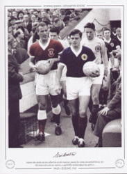 Captain's John Charles and Eric Caldow lead out their respective countries for a Home International fixture in 1962. The Ninian Park crowd were treated to a 5 goal thriller with Scotland edging it by 3 goals to 2.