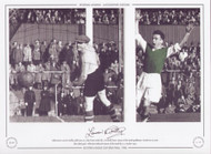 Hibernian's Lawrie Reilly celebrates, as a shot from inside left, Turnbull, beats Queen of the South goalkeeper Henderson to score their third goal. Hibernian defeated Queen of the South 3-1 in October 1950.