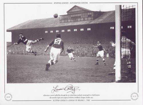 Hibernian's Lawrie Reilly flies through the air to head home Scotland's second goal in a clash between the Scottish League & League of Ireland at Parkhead, Glasgow, October 1952.