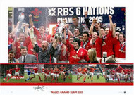 This Stunning limited edition hand signed picture captures the moment when Wales celebrate their 2005 grand slam. The picture includes the iconic images from all the games including the Henson kick against England.