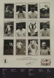 Superb handsigned Cup Kings series limited edition. The picture contains 12 pen pictures, one of each member of the victorious Spurs side, including their then manager, Bill Nicholson. The legend contains full details of each round.