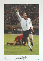 "Wayne Rooney celebrates scoring against Macedonia in 2003. Aged 17 years and 317 days, he became the youngest ever player to score for England. This Stunning limited edition hand signed picture shows Wayne Rooney celebrating. Part of the Rooney ""Street Striker"" Series"