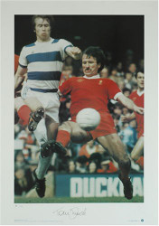 Liverpool's tough tackling defender Tommy Smith in action against Queens Park Rangers.