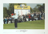 The Belfry 2002 Bernhard Langer celebrates after winning his singles match 4 and 3 against Hal Sutton, helping Europe to a great victory.