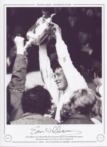 Celtic goalkeeper Evan Williams holds aloft the Scottish Cup after his side demolish their opponents Hibernian by six goals to one in the 1972 Final at Hampden Park.