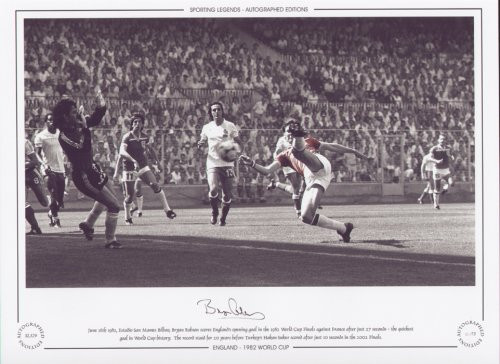 June 16th 1982, Estadio San Mames Bilbao, Bryan Robson scores England's opening goal in the 1982 World Cup Finals against France after just 27 seconds - the quickest goal in World Cup history. The record stood for 20 years before Turkey's Hakan Sukur scored after just 10 seconds in the 2002 finals.