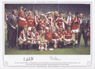 The 1985 FA Cup winners Manchester United celebrate their victory over Everton, thanks to an extra time winner from Norman Whiteside. United had been reduced to 10 men, after referee Peter Willis ordered Kevin Moran off after 78 minutes, making United's victory even more remarkable.