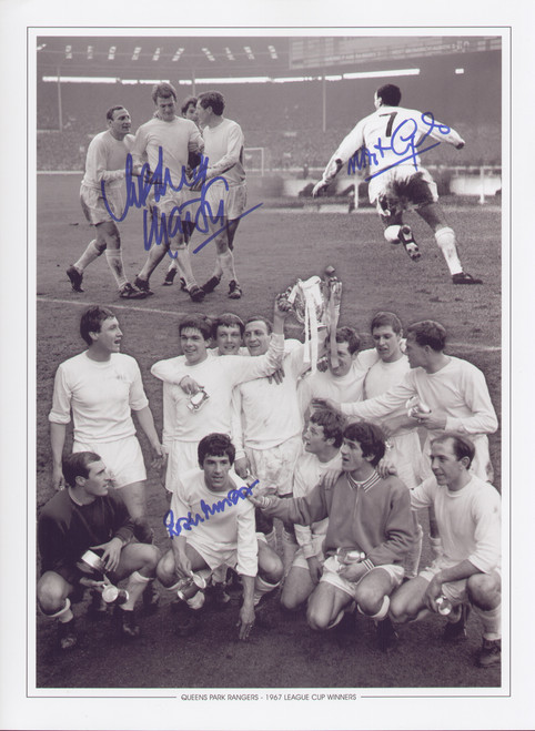 Superb montage of QPR's thrilling win against West Brom in the League Cup Final 1967.  Goals from Roger Morgan, Rodney Marsh and a last gasp winner from Mark Lazarus capped a remarkable comeback as Rangers came from 2 down to win 3-2.  Signed by the goalscorers at a commercial signing held in October 2010.