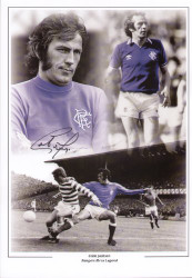 Jackson made a total of 518 appearance for Rangers (1963 - 1982), scoring 41 goals, an impressive total for a defender. This superb montage was signed by Colin Jackson at a private signing session held August 2010.