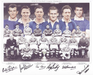Chelsea 1954/55 League Champions, classic team picture signed by six.