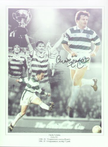 Charlie Nicholas had two successful spells with Celtic, 1980-83 scoring 48 goals in 74 appearances and 1990-95 scoring 37 goals in 114 appearances. This superb montage was signed by Charlie Nicholas at a private signing session held on 29 April 2010.