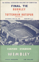 Original Official 1962 FA Cup Final programme. The game, Burnley V Tottenham Hotspur was played on 5 May 1962 at Wembley. Tottenham won the tie 3-1.