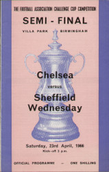 original Official 1966 FA Cup Semi Final programme. The game, Chelsea V Sheffield Wednesday was played on 23rd April 1966 at Villa Park. Wednesday won the tie 2-0.